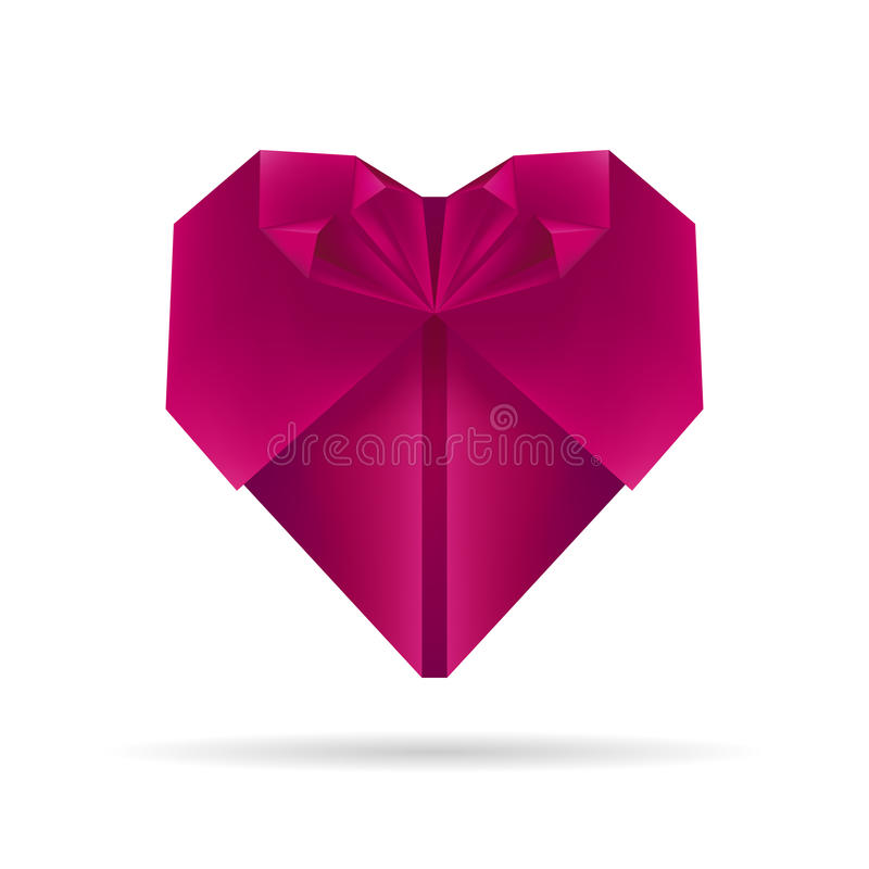 Coeur pourpre d'origami illustration stock