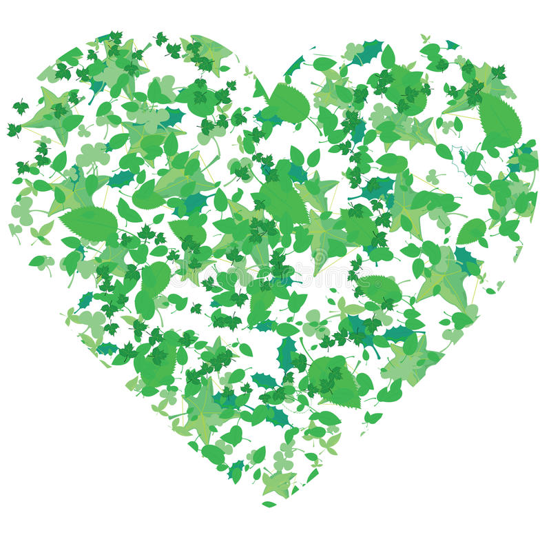Coeur, produit des lames de différents arbres illustration stock