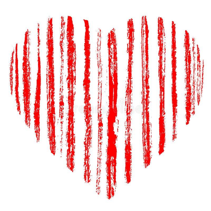 Coeur rayé tiré par la main grunge rouge fait de courses de brosse Rayures rugueuses affligées d'écarlate Symbole de jour d'amour illustration stock