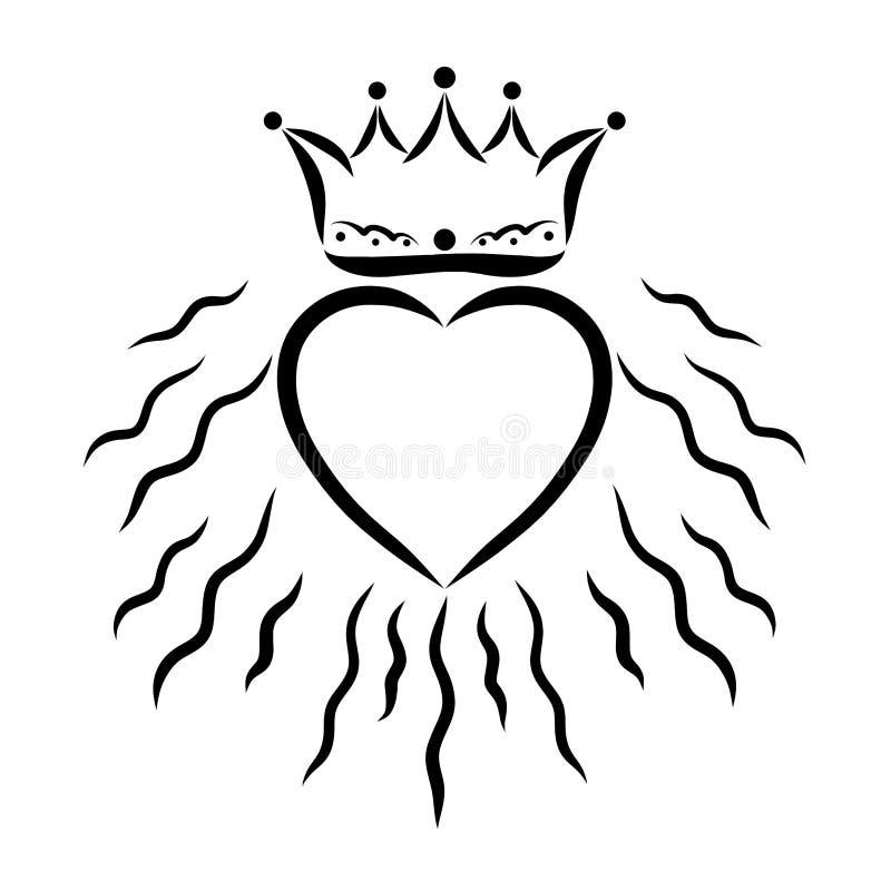 Coeur rayonnant et une couronne au-dessus de elle illustration libre de droits