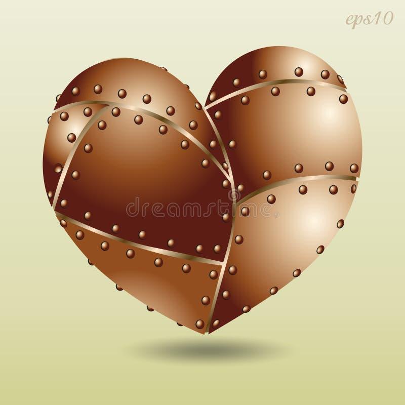 Coeur riveté par cuivre illustration libre de droits