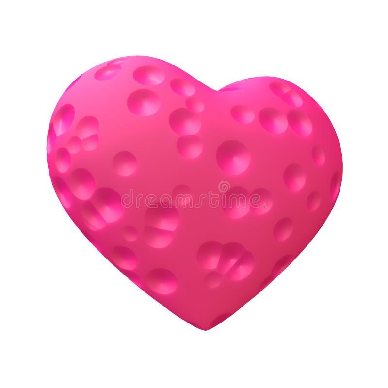 Coeur rose avec les cavernes rondes d'isolement photographie stock libre de droits