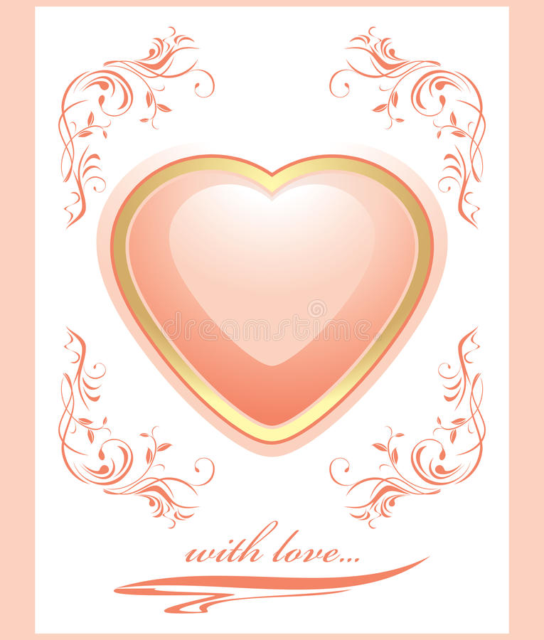 Coeur rose brillant élégant. Carte de voeux au V illustration de vecteur