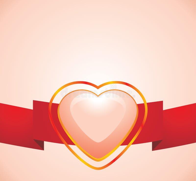 Coeur rose brillant sur la bande rouge illustration stock