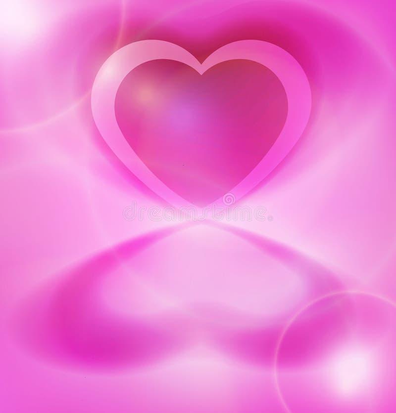 Coeur rose brillant sur le fond rose illustration de vecteur