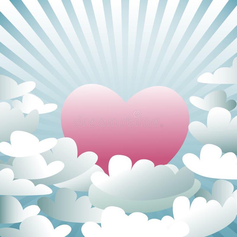 Coeur rose dans le ciel avec des nuages, vecteur illustration libre de droits