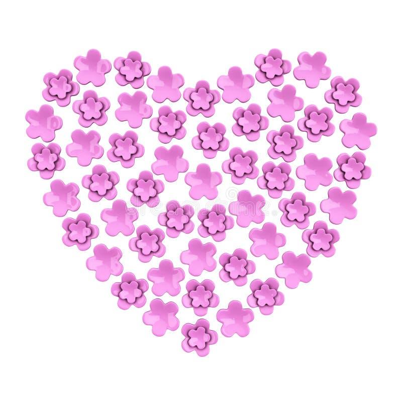 Coeur rose romantique de fleur, 3d illustration stock