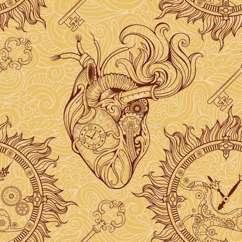 Coeur, rouages et clé dans le style de steampunk illustration stock