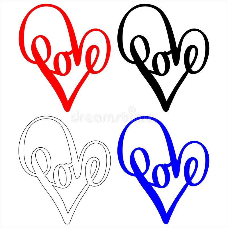 Coeur rouge abstrait avec l'illustration de vecteur d'amour illustration de vecteur