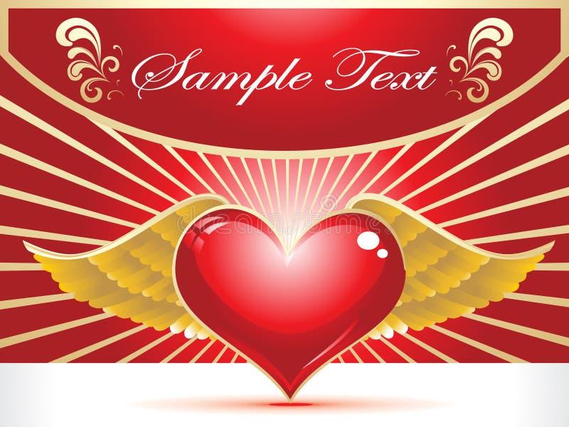 Coeur rouge abstrait avec la clavette d'or illustration de vecteur