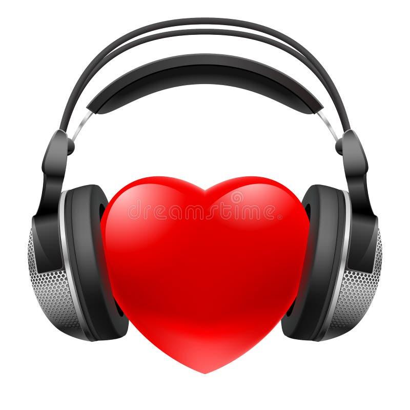 Coeur rouge avec des écouteurs illustration stock