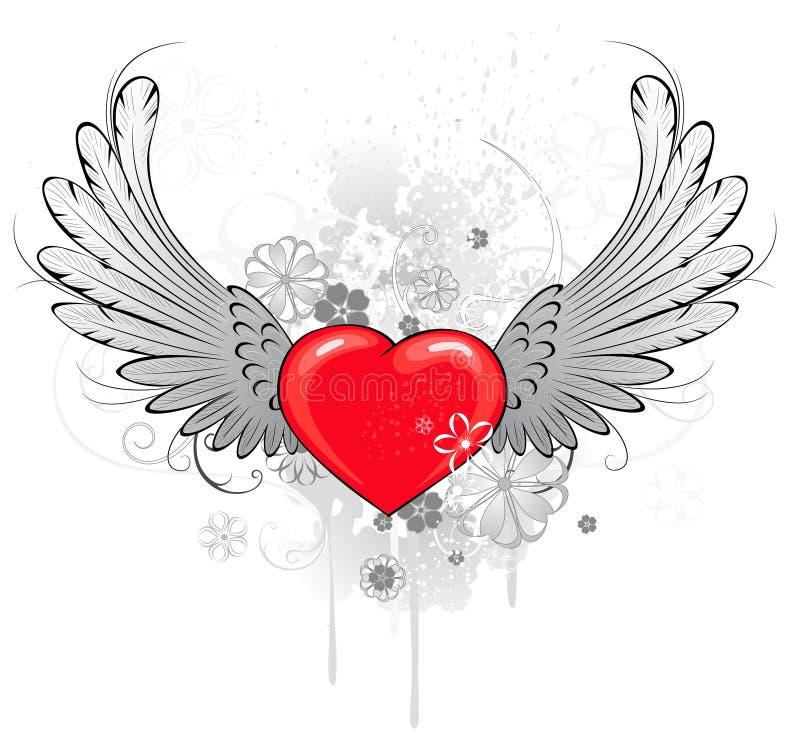 Coeur rouge avec des ailes illustration libre de droits