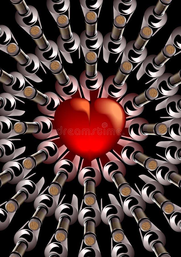 Coeur rouge avec des bouteilles de vin illustration stock