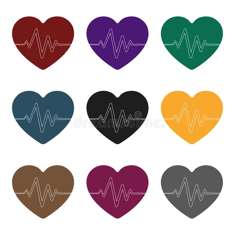 Coeur rouge avec l'impulsion La fréquence cardiaque de l'athlète L'icône simple de gymnase et de séance d'entraînement dans le st illustration libre de droits
