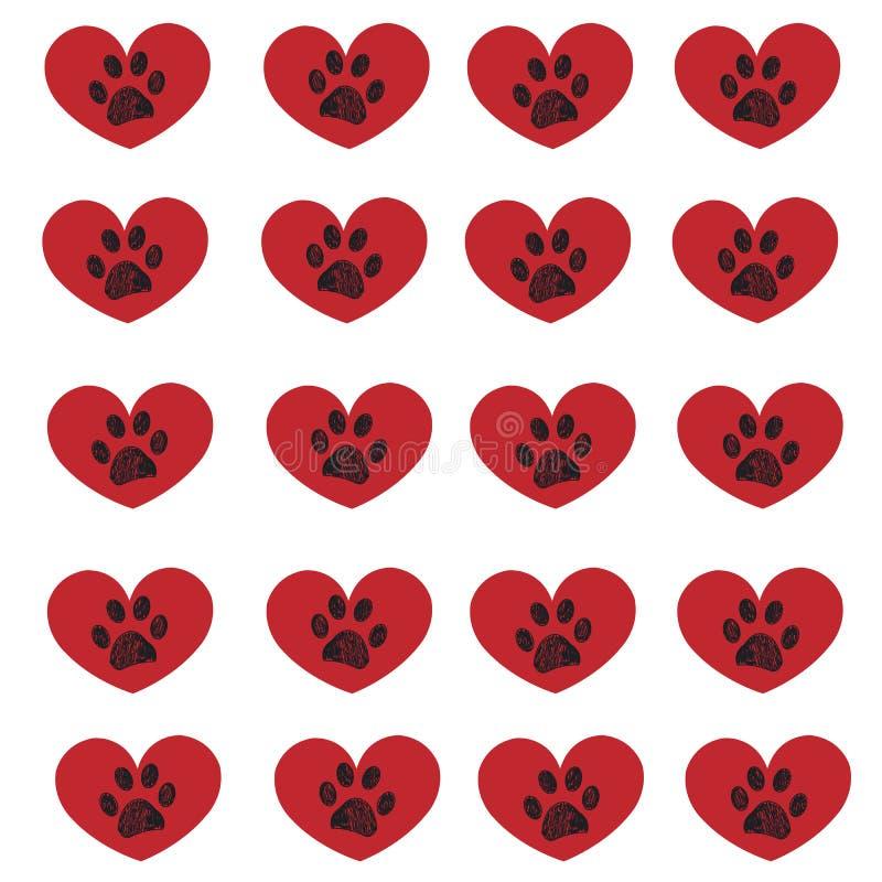 Coeur rouge avec la copie de patte Jour heureux du `s de Valentine illustration stock