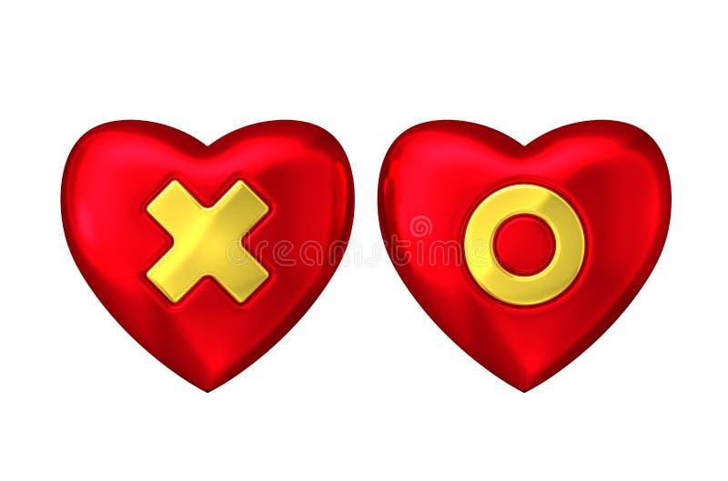 Coeur rouge avec la croix et le cercle d'or illustration libre de droits