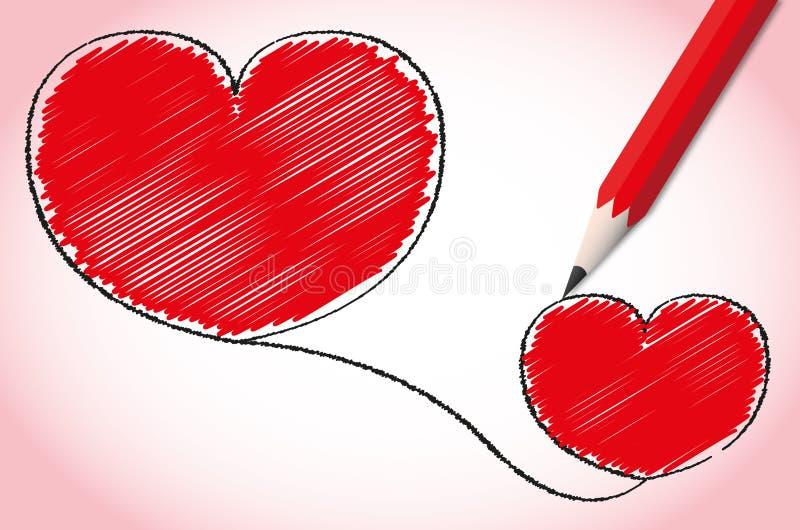 Coeur rouge avec le crayon. illustration stock
