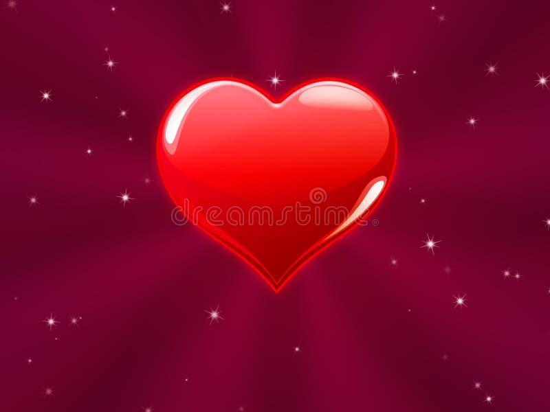 Coeur rouge avec les rayons roses illustration libre de droits