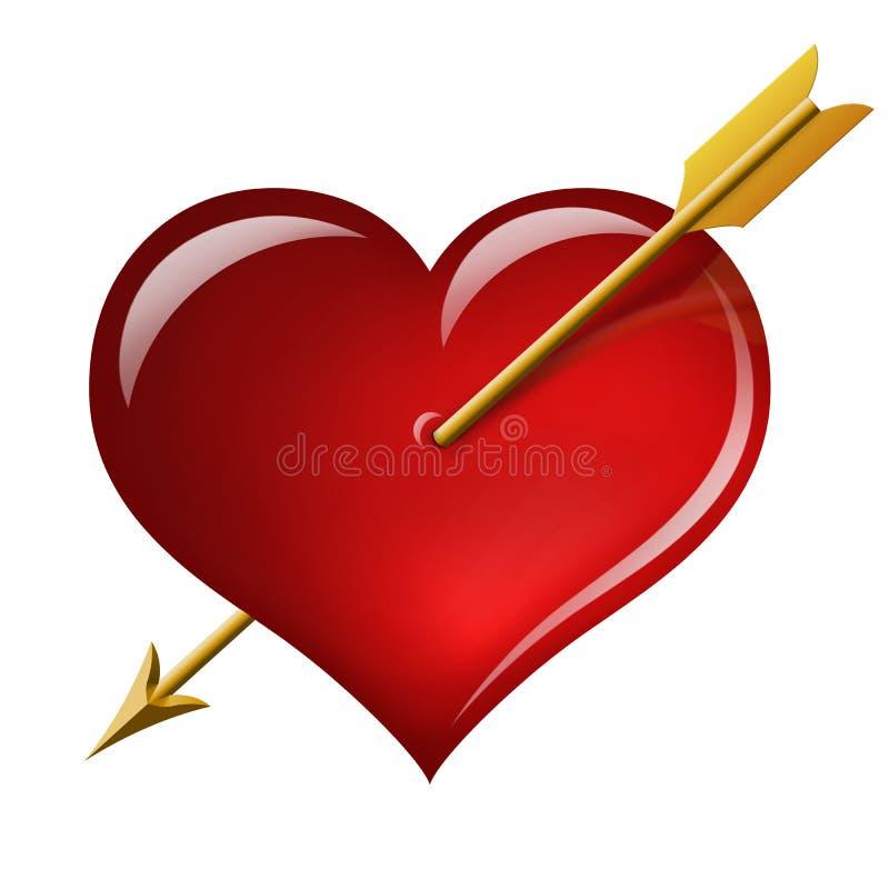 Coeur rouge avec une flèche du cupidon illustration de vecteur