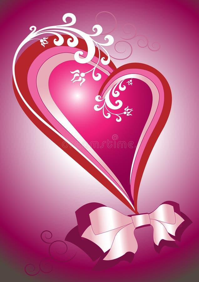 Coeur rouge avec une proue. Carte postale. Fond. illustration de vecteur