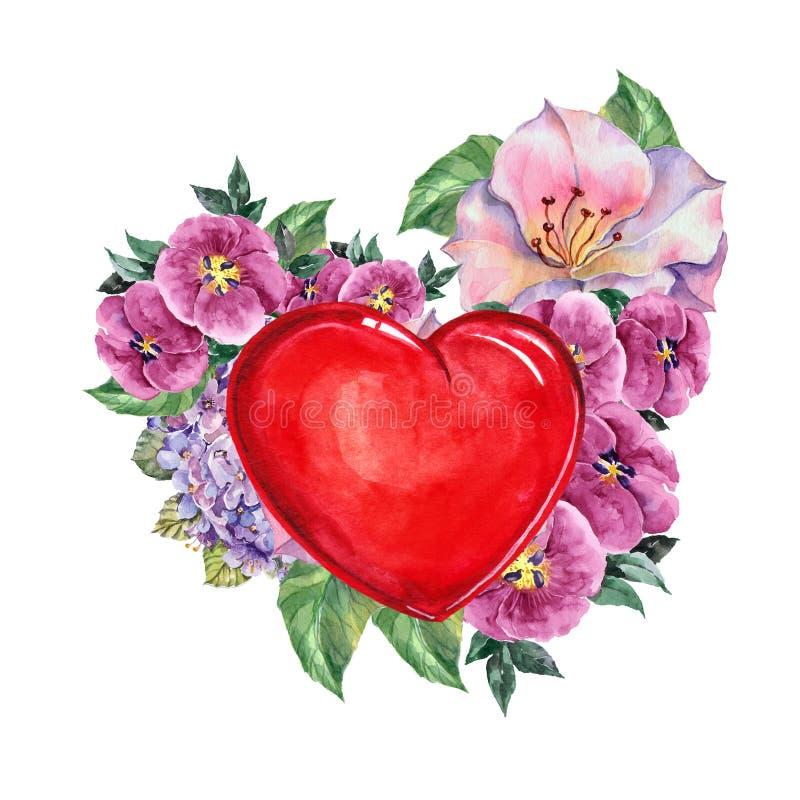 coeur rouge bouquet de fleurs aquarelle illustration stock illustration du carte conception. Black Bedroom Furniture Sets. Home Design Ideas
