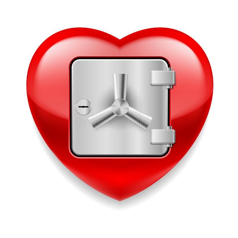 Coeur rouge brillant comme coffre-fort illustration libre de droits