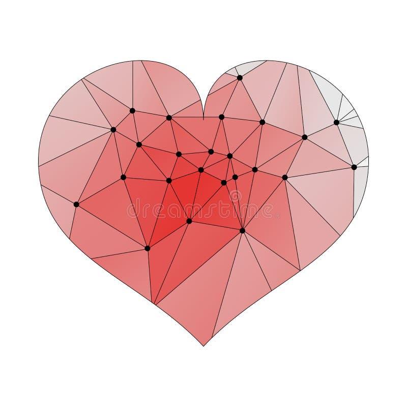 Coeur rouge-clair de vecteur d'isolement sur le fond blanc Poly graphique fripé géométrique de gradient de style d'origami du bas illustration stock