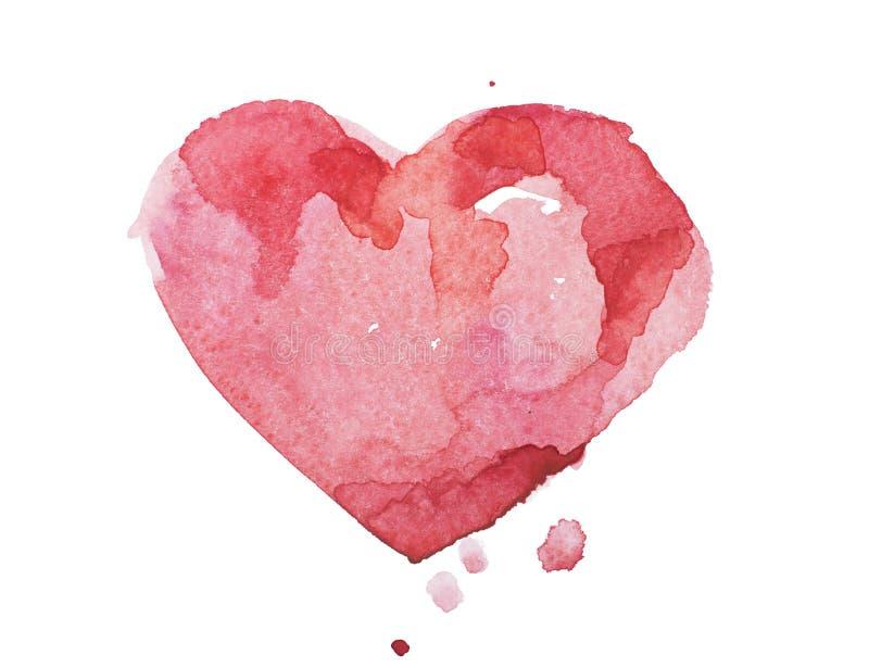 Coeur rouge coloré tiré par la main d'aquarelle d'aquarelle images stock