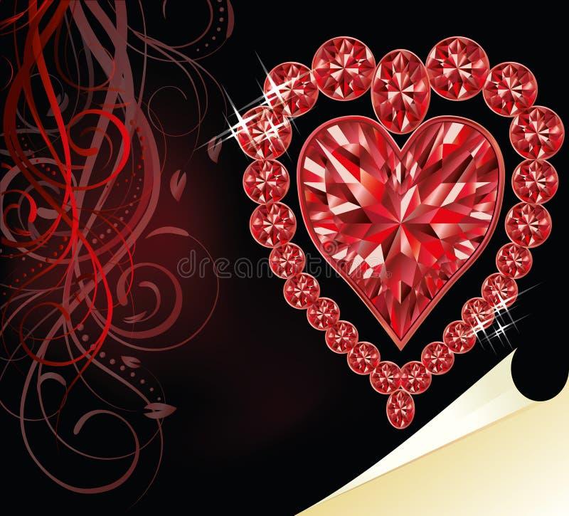 Coeur rouge d'amour, épousant le jour de valentines illustration de vecteur