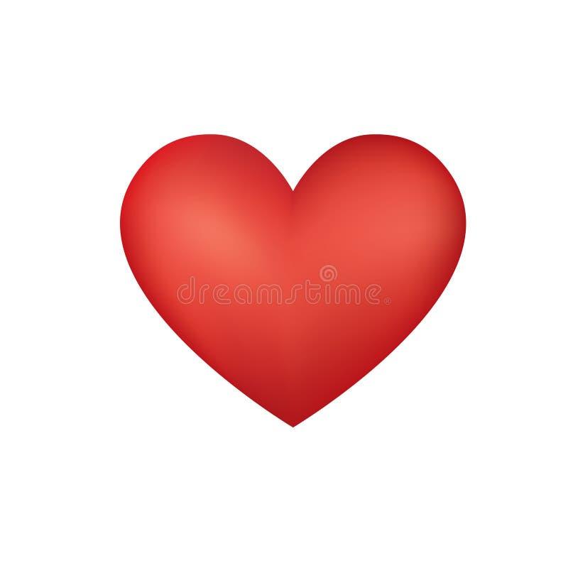 Coeur rouge d'amour de Valentine au-dessus du fond blanc illustration stock
