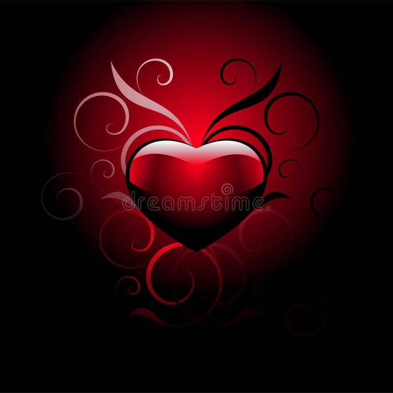 Coeur rouge d'amour sur le noir illustration de vecteur