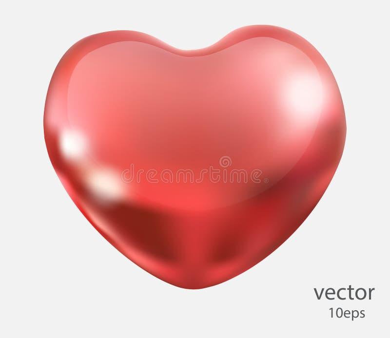 Coeur rouge d'isolement sur le fond blanc Conception romantique d'élément, un symbole de l'amour Objet réaliste du vecteur 3d illustration stock
