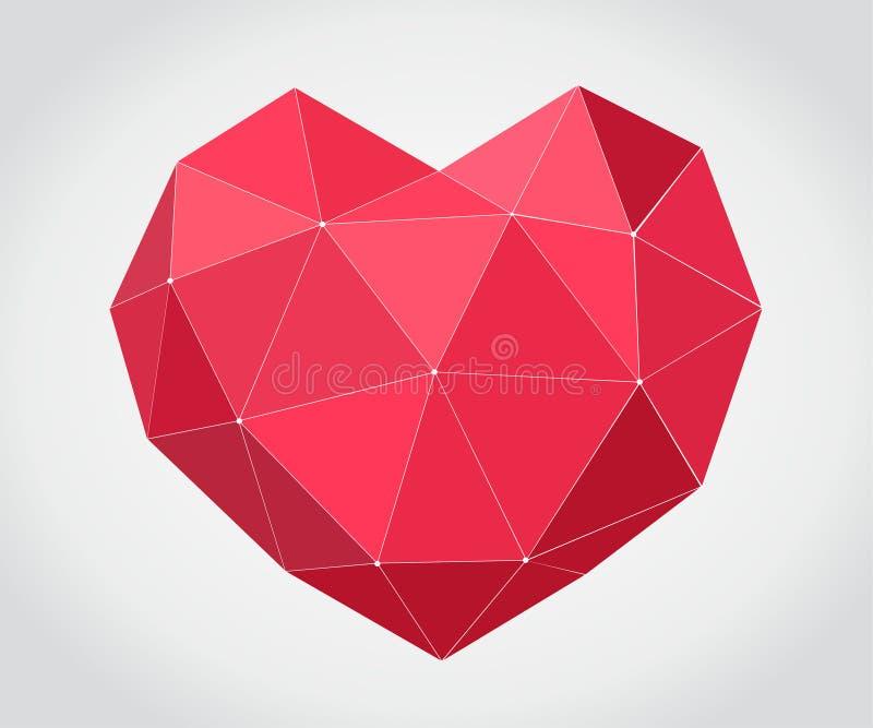 Coeur rouge d'origami sur le fond clair Fond romantique pour le jour de valentines illustration de vecteur
