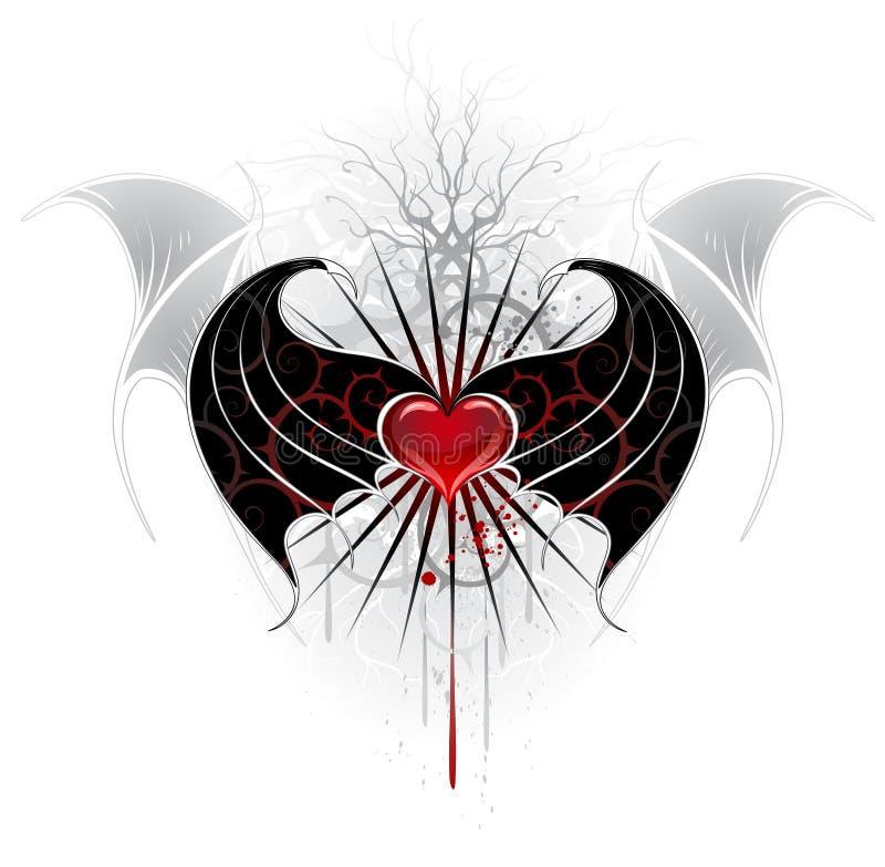 Coeur rouge d'un vampire illustration de vecteur