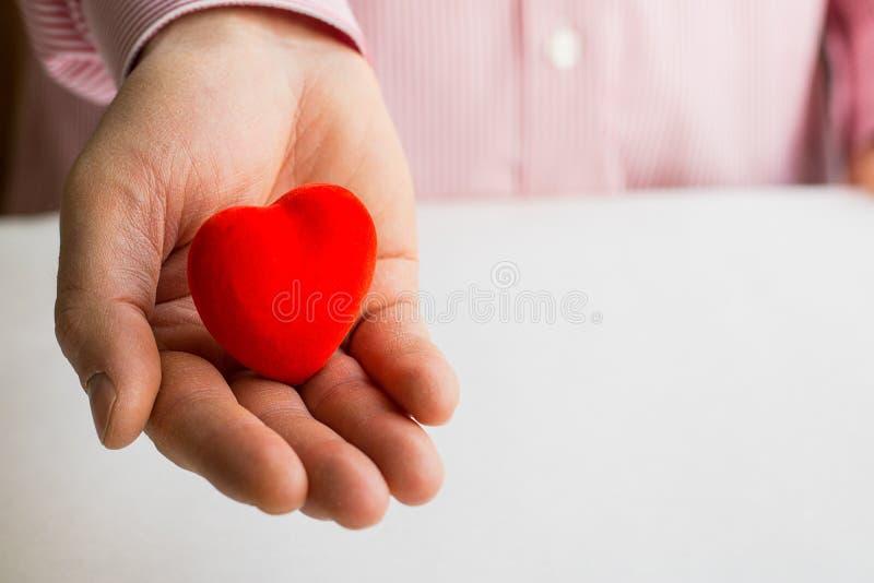 Coeur rouge dans la main de l'homme avec l'espace de copie, fin  photos stock