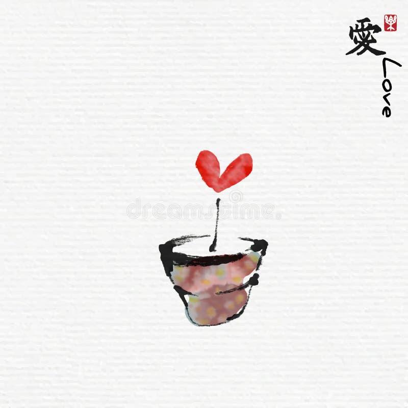Coeur rouge dans le pot de fleur avec le style d'art de peinture chinoise illustration stock