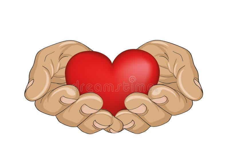 Coeur rouge dans les mains Les paumes s'ouvrent La main donne ou reçoit illustration de vecteur