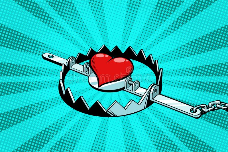 Coeur rouge dans un piège de fer Amour et romance illustration stock