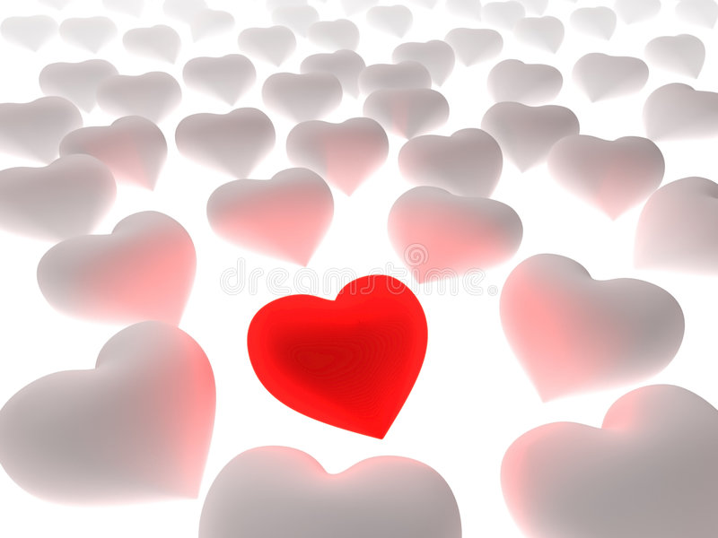Coeur rouge dans une foule des coeurs blancs illustration de vecteur