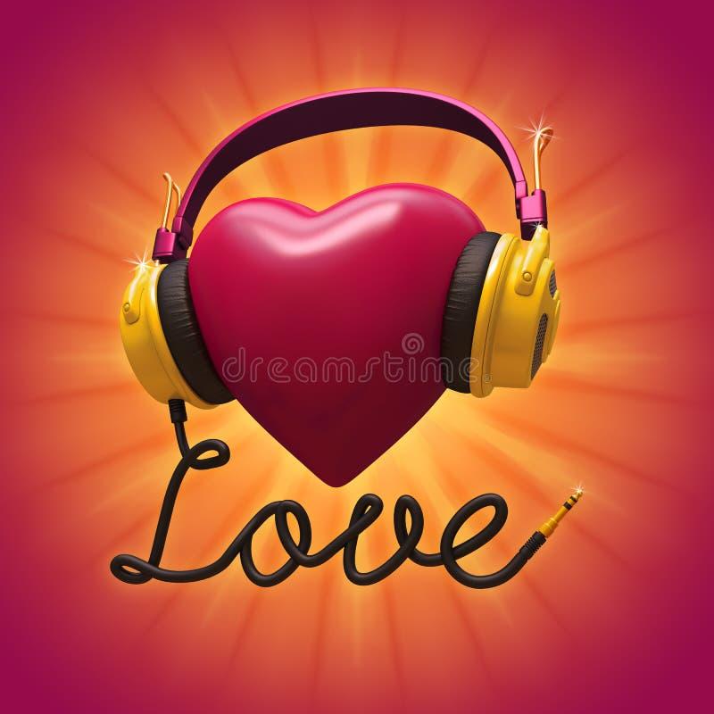 coeur rouge de 3d Valentine avec des écouteurs illustration libre de droits