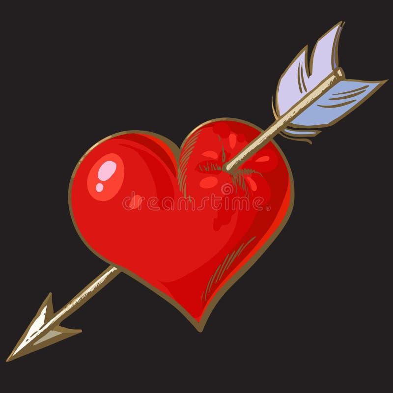 Coeur rouge de bande dessinée percé par la flèche Élément pour la carte de voeux de jour de valentines, T-shirt, vecteur tiré par illustration stock