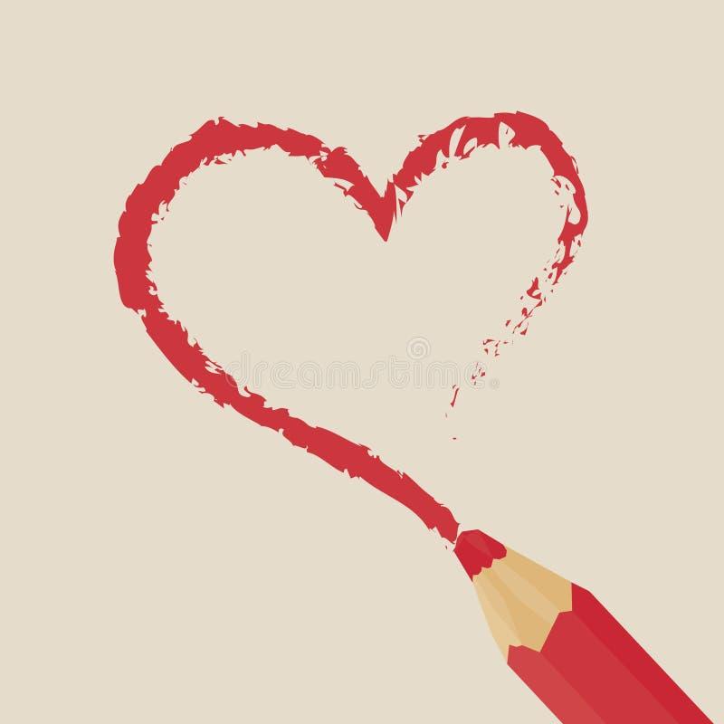 Coeur rouge de dessin au crayon illustration libre de droits