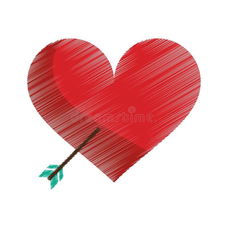 coeur rouge de dessin avec le symbole d 39 amour de fl che. Black Bedroom Furniture Sets. Home Design Ideas