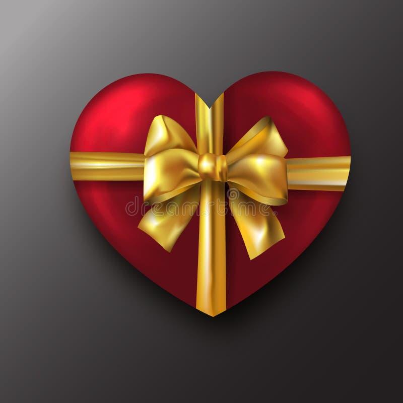 Coeur rouge de Saint-Valentin avec l'arc d'or sur le fond noir illustration de vecteur