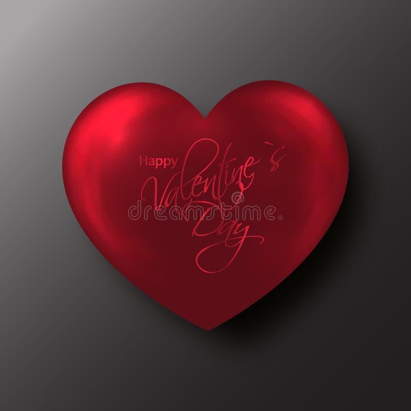 Coeur rouge de Saint-Valentin sur le fond noir illustration libre de droits