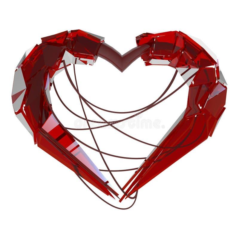 Coeur rouge de techno de l'amour illustration de vecteur