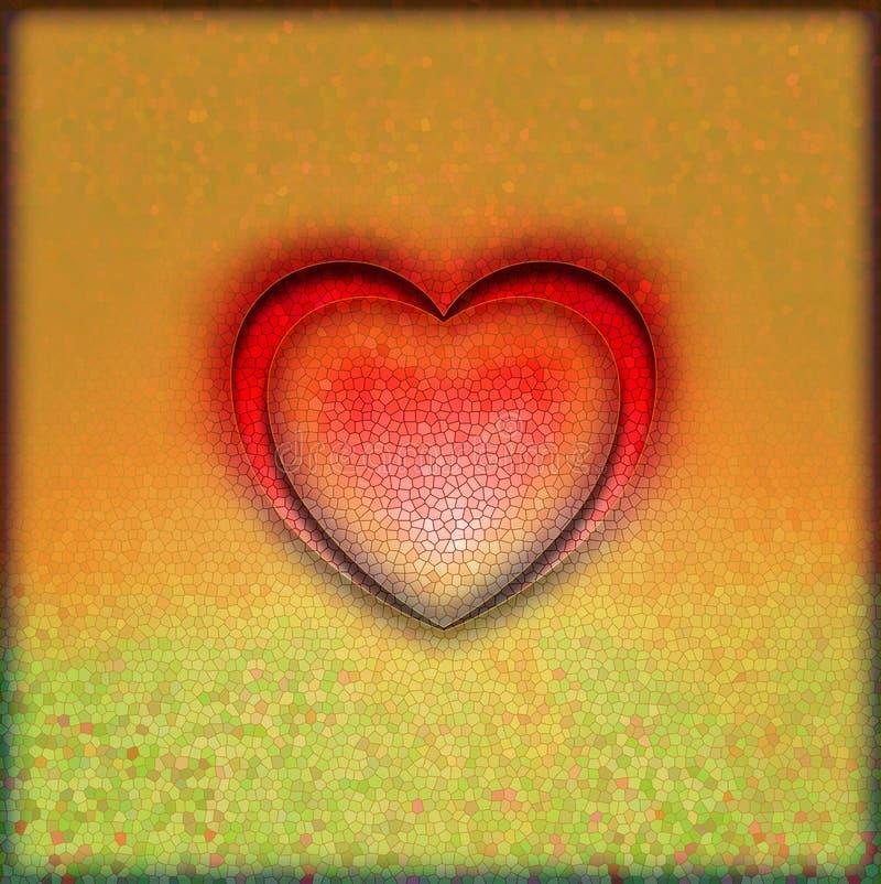 Coeur rouge de Valentine sur d'or illustration de vecteur