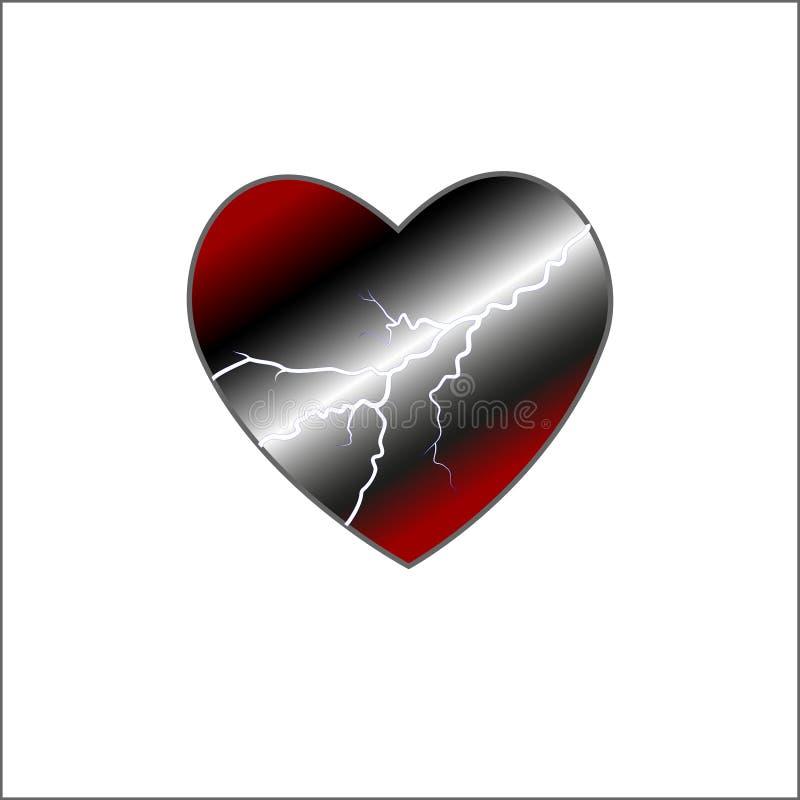 Coeur rouge entouré par un écoulement d'énergie storm Vecteur Jour de Valentine s A soufflé le tonnerre de l'amour illustration de vecteur