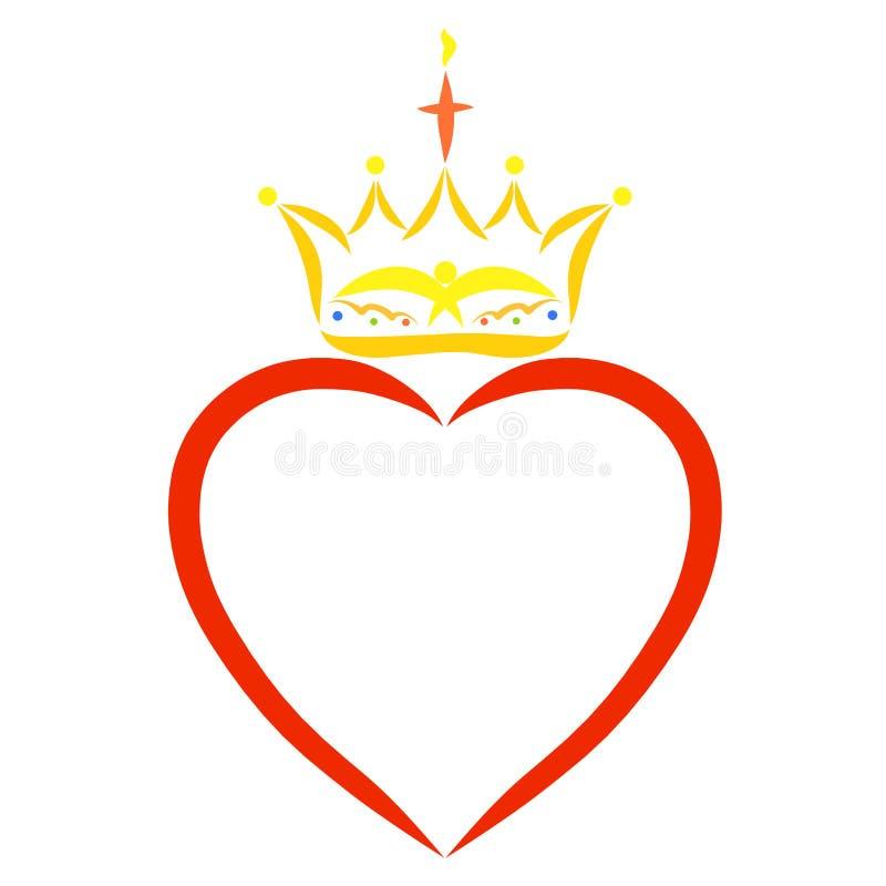Coeur rouge et couronne chrétienne au-dessus de elle illustration libre de droits