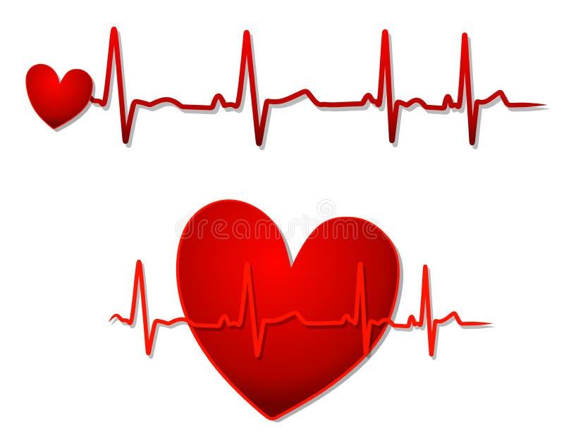 Coeur rouge et lignes d'EKG illustration libre de droits